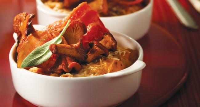 Gratin de potiron aux champignons des bois, bacon croustillant
