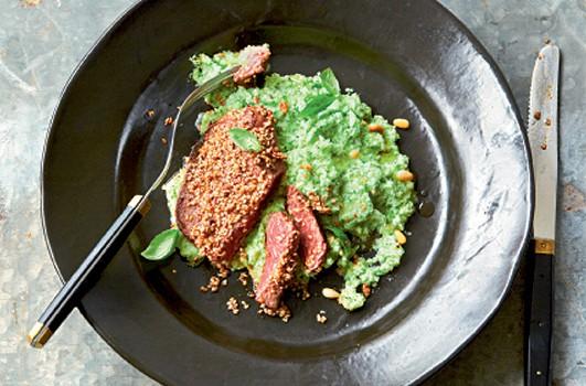 Pavés de bœuf au sésame et purée de brocoli
