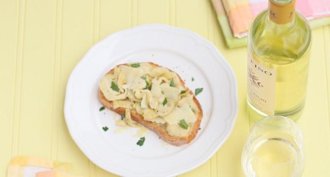 Croûtons d'artichauts et fromage de brebis