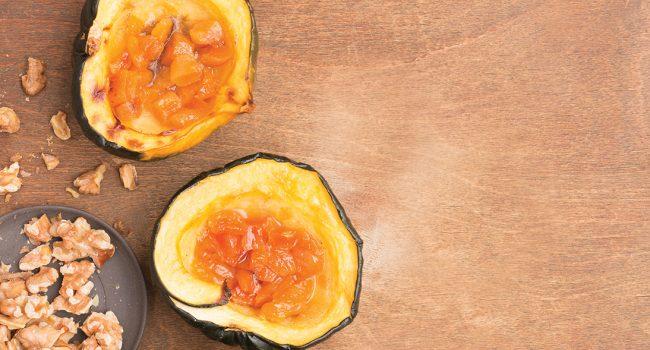 Courges poivrées à l'érable et aux abricots